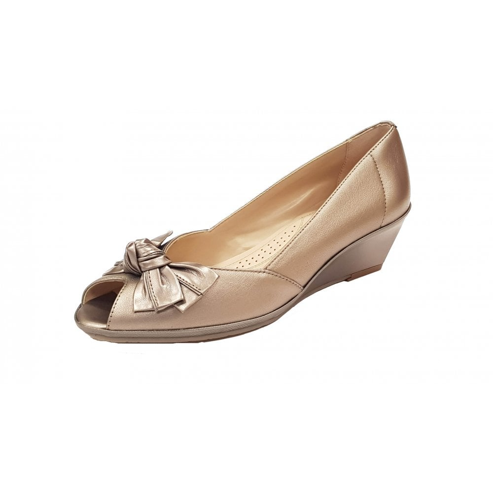 55e6d9fc156cf Florida II Metal / Pewter Leather Wedge Shoe