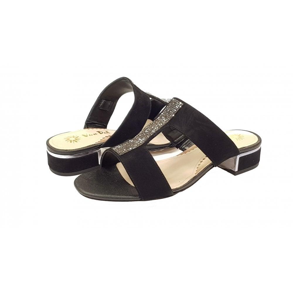 Ione II Black Suede Ladies Sandal
