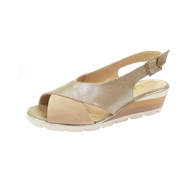 f24f45886d Madras Sesame Suede   Lizard Print Wedge Ladies Sandals