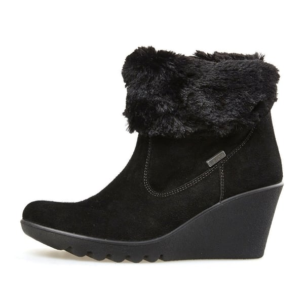 O Conner Black Suede Wedge Ankle Boot