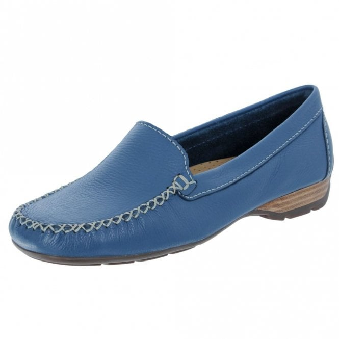 8a7681f107 Sanson Denim Blue Leather Loafer Moccasin Shoe