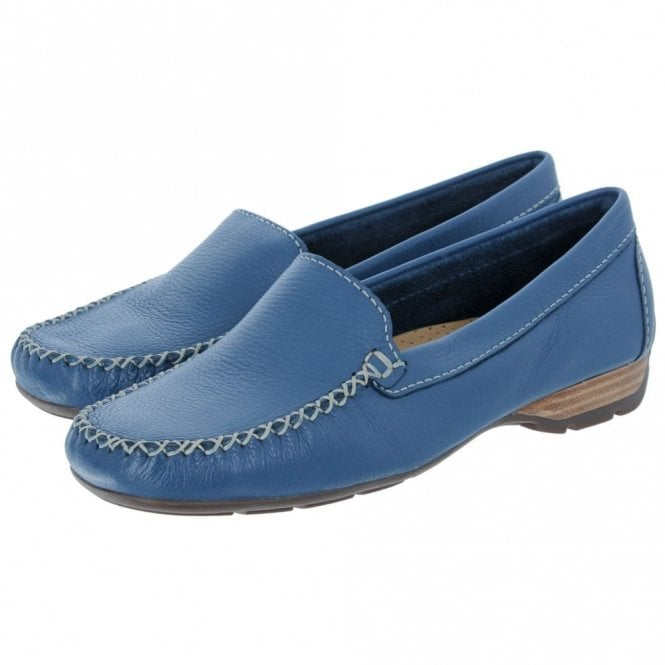 Van Dal Sanson Denim Blue Leather Loafer Moccasin Shoe Clothing, Shoes & Accessories