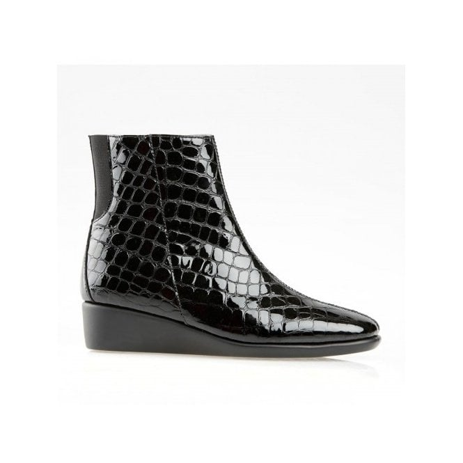 Truro Black Patent Croc Wedge Ankle Boot